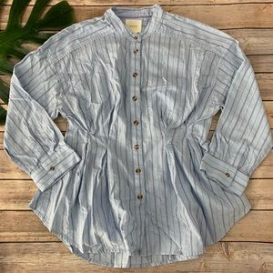 Maeve blue striped pleated Brenna button up shirt